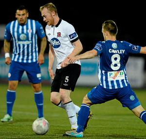 Dundalk's Chris Shields in action against Sligo Rovers' David Cawley
