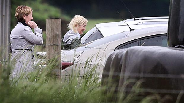 State Pathologist Dr. Marie Cassidy (green jacket) leaving the scene  where the human remains were found Coghalstown in Co Meath. Pic Steve Humphreys 25th June 2015.