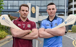 David Collins of Galway and Dublin's Liam Rushe