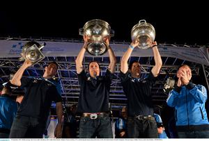 23 September 2013; Dublin manager Jim Gavin, right, with playes left to right, Denis Bastick, Stephen Cluxton and Rory O'Carroll during the homecoming celebrations of the All-Ireland Senior Football Champions. Merrion Square, Dublin. Picture credit: David Maher / SPORTSFILE