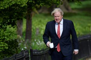Britain's Prime Minister Boris Johnson goes for a walk in Central London following the outbreak of the coronavirus disease, London, Britain, May 11, 2020. REUTERS/Toby Melville