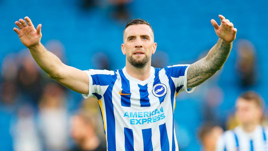 Shane Duffy of Brighton and Hove Albion celebrates after victory against Watford. (Photo by Steve Bardens/Getty Images)
