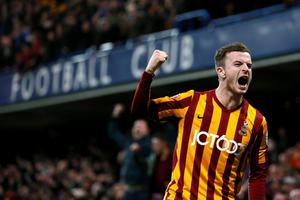 Bradford City's Andy Halliday celebrates after Filipe Morais (unseen) scored against Chelsea during their FA Cup fourth round soccer match at Stamford Bridge in London January 24, 2015. REUTERS/Stefan Wermuth (BRITAIN - Tags: SPORT SOCCER)