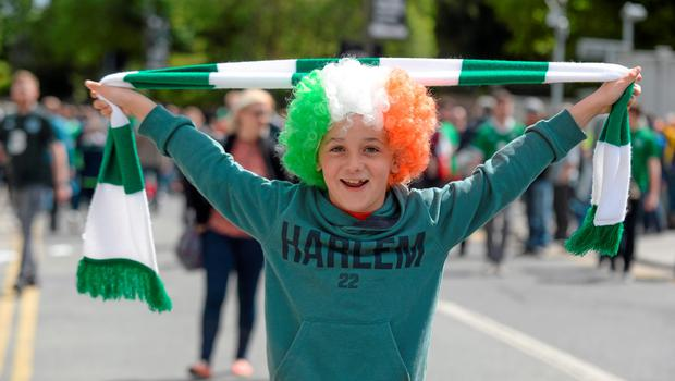 7 June 2015; Republic of Ireland supporter Jonathan Gough, age 10, from Rathcoole, Co. Dublin, on this way to the game. Three International Friendly, Republic of Ireland v England. Aviva Stadium, Lansdowne Road, Dublin. Picture credit: Cody Glenn / SPORTSFILE