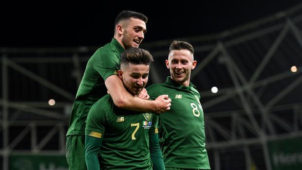 14 November 2019; Sean Maguire of Republic of Ireland, centre, is congratulated by team-mate Troy Parrott, left, and Alan Browne after scoring his side's second goal during the International Friendly match between Republic of Ireland and New Zealand at the Aviva Stadium in Dublin. Photo by Seb Daly/Sportsfile