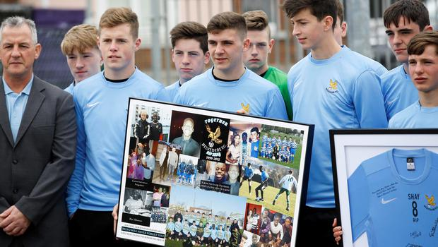 FAO DAVID CONACHY : 6/06/2015 : Pictured was Shay's team mates Andy Mooney, Conor Fawler and Neil Farrugia from Belvedere FC at the funeral of Shetemi Ayetigbo (known as Shay) which took place on in Donabate  Community Centre. Picture Conor McCabe.
