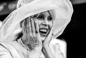 3rd PORTRAIT Actress Joanna Lumley reacts as she is presented with flowers on the occasion of her 70th birthday during a race day at the Curragh Racecourse ~ Brendan Moran Sportsfile