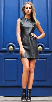 Thalia wears Leather dress, €161 for the Zoe Jordan X River Island Design Forum collection, available in store today