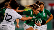 Eimear Considine of Ireland is tackled by Tatyana Heard of England in last year's Women's Six Nations championship. Photo by Ramsey Cardy/Sportsfile