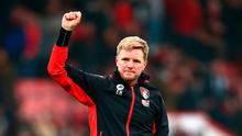 Bournemouth manager Eddie Howe shows appreciation to the fans after the match. Photo: Getty
