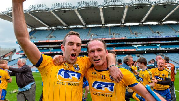 6 June 2015; Roscommon captain Micheal Kelly, left, and Ronan O'Meara celebrate after the game. Nicky Rackard Cup Final, Armagh v Roscommon. Croke Park, Dublin.  Picture credit: Matt Browne / SPORTSFILE