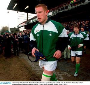 3 February 2002; Ireland's Paul O'Connell makes his way onto the pitch prior to kick off. Ireland v Wales, Six Nations Championships, Landsdowne Road, Dublin. Picture credit: Brendan Moran / SPORTSFILE