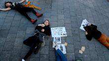 Protests: activists from Climate Action Dublin Bay South stage a die-in in Ranelagh, Dublin ahead of the Global Climate Strike which runs until September 27. Photo by rian Lawless/PA Wire