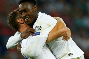 England's Danny Welbeck (R) celebrates his second goal against Switzerland with Rickie Lambert during their Euro 2016 qualifying soccer match at the Sankt Jakob-Park stadium in Basel (REUTERS/Denis Balibouse)