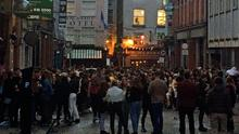 Worry: Hundreds of people were drinking on Dublin's Dame Lane on Saturday night. Picture: PA