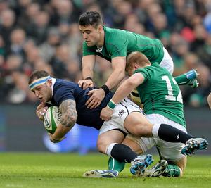 2 February 2014; Greig Laidlaw, Scotland is tackled by Ireland's Conor Murray, and Luke Marshall, right. RBS Six Nations Rugby Championship, Ireland v Scotland, Aviva Stadium, Lansdowne Road, Dublin. Picture credit: Paul Mohan / SPORTSFILE