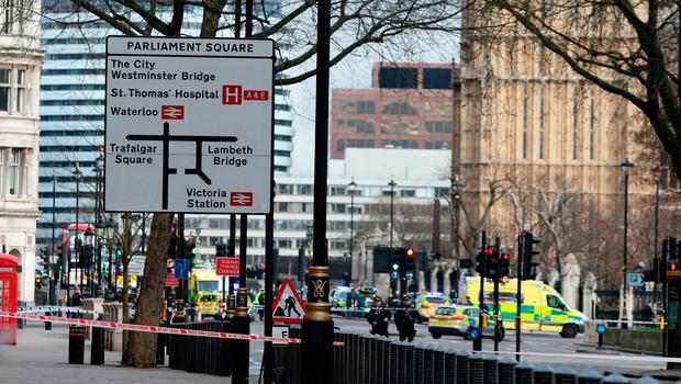 Emergency personnel close streets near the Palace of Westminster, London, after the attack. Photo: PA