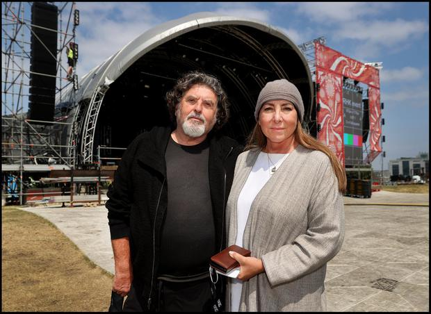 Denis Desmond and Caroline Downey from MCD pictured at the set up continues of Irelands first big music festival featuring Gavin James and Lyra to name a few band performing this weekend at Kilmainham. Photo by Steve Humphreys 2nd July 2021.