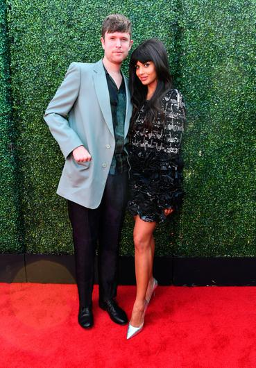 James Blake (L) and Jameela Jamil attend the 2019 MTV Movie and TV Awards at Barker Hangar on June 15, 2019 in Santa Monica, California. (Photo by Emma McIntyre/Getty Images for MTV)