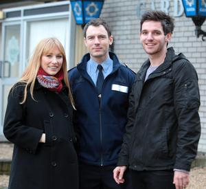 """Actors Val O'Connor, Richard Flood and Adam Weafer  on the set of Tv3's new soap """"Red Rock"""" today"""