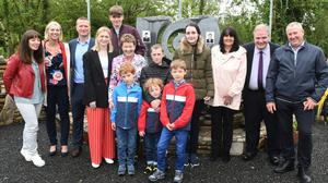 Frances Morley wife of the late Detective Garda John Morley with her extended family at a commeration ceremony to honour the memory of Garda Henry Byrne and Detective Garda John Morley at Shannon's Cross, Loughglynn, Co. Roscommon today. Photograph. Michael McCormack.