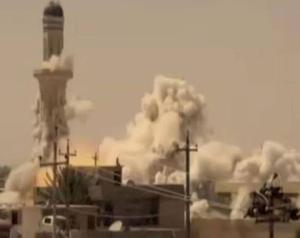 Footage of a mosque being blown up in a US anti-ISIS video (Photo: YouTube)