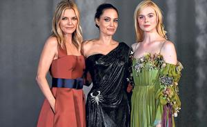 Stylish: From left, Michelle Pfeiffer, Angelina Jolie and Elle Fanning. Photo: Kevin Winter/Getty