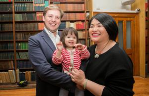 Family hug: Hazel Chu with partner Patrick Costello and daughter Alex (2). Photo: Gareth Chaney/Collins