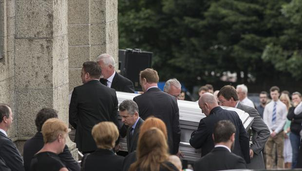 The remains of Olivia Burke are brought for her funeral mass at Our Lady of Perpetual Succour, Foxrock. Pic:Mark Condren