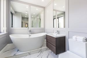 Downstairs bathroom with a free-standing bath