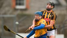 Shane O'Donnell of Clare in action against Conor O'Shea of Kilkenny during the Allianz Hurling League Division 1A Round 2 match between Clare and Kilkenny at Cusack Park in Ennis. Photo by Diarmuid Greene/Sportsfile