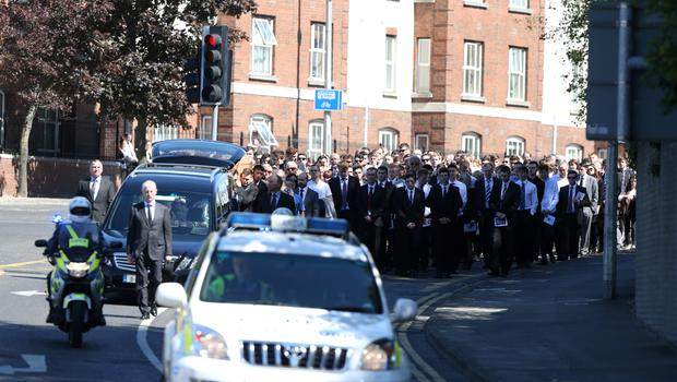 Mourners at the funeral of Berkeley tragedy victim Eoghan Culligan at the Church of the Annunciation, Rathfarnham