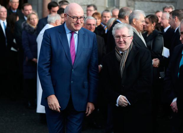 Trouble: Phil Hogan (left) and Seamus Woulfe were both at the 'golfgate' dinner. Photo: Niall Carson/PA Wire