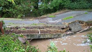 Gort Bridge in Kilgarvan which collapsed following a storm last August.