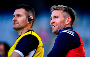 Selector Niall Corcoran with Laois manager Eddie Brennan (right)