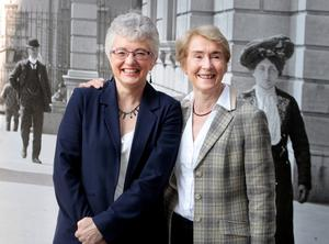 Senator Katherine  Zappone (left) and her wife ( WIFE)  Dr.Ann Louise Gilligan  at  the launch of the  I'M Voting Yes.Ask Me Why campaign   for Civil Marriage Equality at the National Library of Ireland,Kildare street Dublin yesterday . Pic Tom Burke 9/4/2015