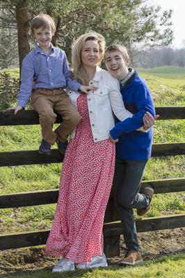 Vivienne Doyle with her sons Harrison and Daniel Quinn at their home in Hollystown, Dublin. Picture: Arthur Carron.