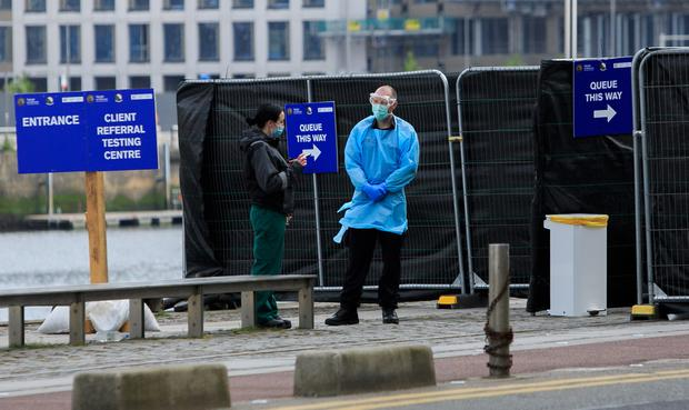 The testing area for Covid-19 at Sir John Rogersons Quay, Dublin. Photo:Gareth Chaney/Collins