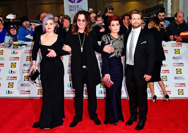 Ozzy Osbourne with members of his family, wife Sharon, daughter Kelly and son Jack. Photo: Ian West