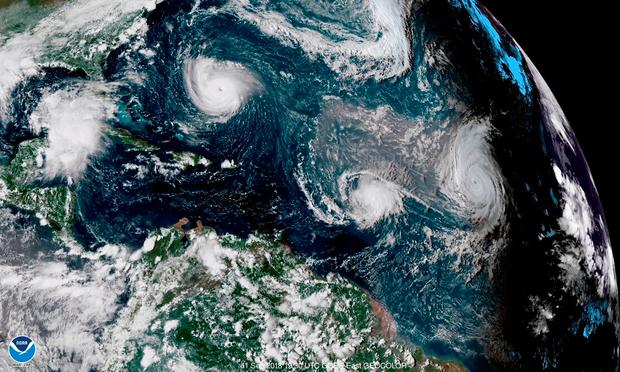 Florence (top left) has made its presence felt in the US, but forecasters believe Helene (right) may pose a danger to life in Ireland when it arrives.