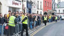 The queue for the Hole in the Wall bar early on DONEGAL TUESDAY where students in Galway from all over the country celebrate with an early session. The queue began at 9am and will most likely to continue all day    Photo: Andrew Downes