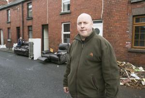 Raymond O'Carroll at Island View Terrace, Limerick, where his home was flooded. Picture: BRIAN GAVIN/PRESS 22