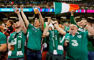 Irish rugby fans nearly blew the roof off the iconic Millennium Stadium yesterday as our Rugby World Cup odyssey got underway in fine style