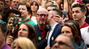 People react as Ireland voted in favour of allowing same-sex marriage in a historic referendum  REUTERS/Cathal McNaughton