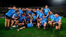 The Dublin players celebrate with the Sam Maguire Cup following the GAA Football All-Ireland Senior Championship Final match between Dublin and Mayo at Croke Park in Dublin. Photo: Stephen McCarthy/Sportsfile