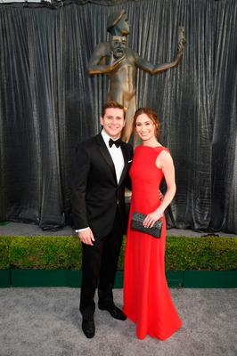 Allen Leech and Jessica Blair Herman attend the 25th Annual Screen ActorsGuild Awards at The Shrine Auditorium on January 27, 2019 in Los Angeles, California. 480595  (Photo by Dimitrios Kambouris/Getty Images for Turner)