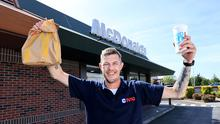 Mcdonalds re-opens.  Darren Mulligan who was first in line to be served at the McDonalds drive thru on the Malahide road in Dublin .   Picture; Gerry Mooney