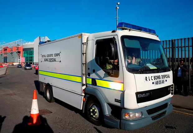 The bomb squad arrives at Old Trafford yesterday. Photo: Alex Livesey/Getty Images