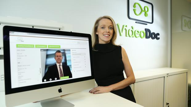 VideoDoc CEO, Mary O'Brien, with Medical Director, Dr Robert Kelly, on screen.