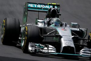 Mercedes driver Nico Rosberg leads the pack during the Formula One Brazilian Grand Prix at the Interlagos race track in Sao Paulo